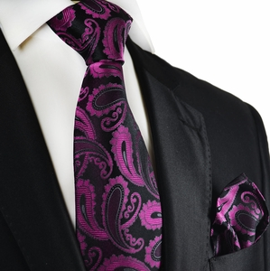 Purple and Black Paisley Silk Tie Set by Paul Malone