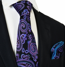 Purple and Black Steven Land Big Knot Silk Tie and Pocket Square