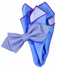 Purple and Blue Bow Tie Set with Rolled Bordered Pocket Square