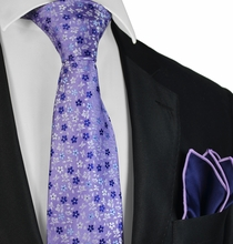 Purple and Blue Floral Tie and Pocket Square Set by Paul Malone