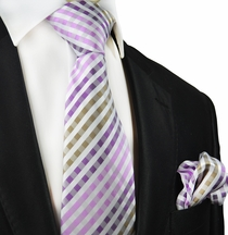Purple and Brown Gingham Silk Tie Set by Paul Malone