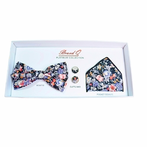 Purple and Coral Floral Bow Tie Gift Box