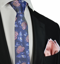 Purple and Coral Slim Tie and Pocket Square Set by Paul Malone