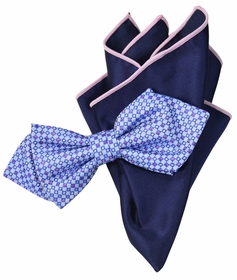 Purple and Navy Bow Tie Set with Rolled Bordered Pocket Square