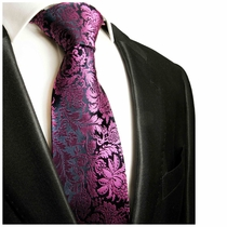 Purple and Navy Paul Malone Designer Silk Tie (688)