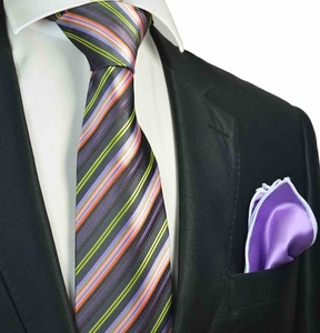 Purple and Pink Striped Tie with Contrast  Rolled Pocket Square Set