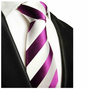 Purple and White Paul Malone Designer Silk Tie (451)