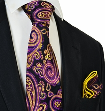 Purple and Yellow Steven Land Big Knot Silk Tie and Pocket Square