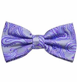 Purple Paisley Paul Malone Bow Tie. 100% Silk