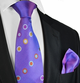 Purple Steven Land Contrast Knot Silk Tie and Pocket Square
