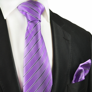 Purple Striped Silk Tie and Pocket Square by Paul Malone
