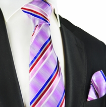 Purple Striped Silk Tie and Pocket Square Set by Paul Malone