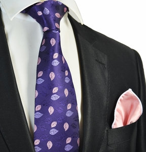 Purple Tie with Coral Rolled Pocket Square Set