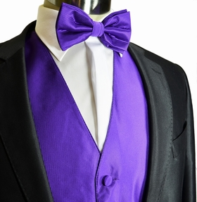 Purple Tuxedo Vest and Bow Tie Set