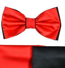 Red and Black Bow Tie with 2 Pocket Squares