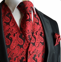 Red and Black Men's Wedding Vest and Accessories