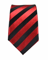 Red and Black Slim Silk Tie by Paul Malone
