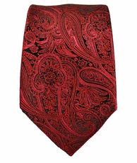 Red and Black Slim Tie by Paul Malone . 100% Silk