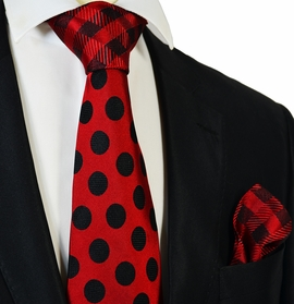 Red and Black Steven Land Contrast Knot Silk Tie and Pocket Square