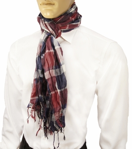 Red and Blue Men's Cotton Crinkle Scarf by Paul Malone
