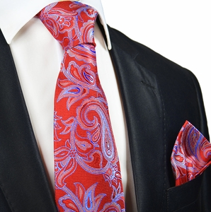 Red and Blue Paisley Silk Tie and Pocket Square by Paul Malone