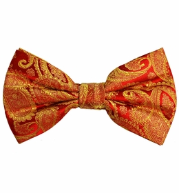 Red and Gold Paisley Silk Bow Tie with Pocket Square