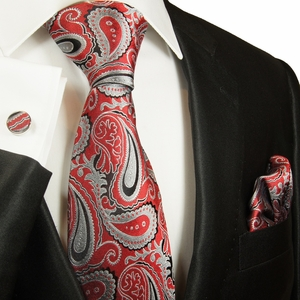 Red and Gray Silk Necktie Set by Paul Malone (563CH)
