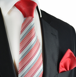 Red and Grey Contrast Knot Tie Set by Paul Malone