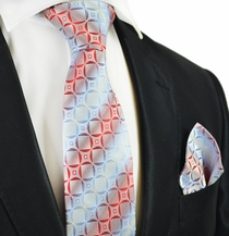 Red and Sky Blue Silk Tie Set by Paul Malone