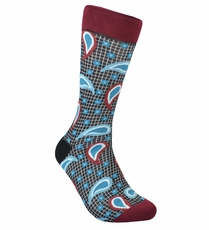 Red and Teal Paisley Cotton Dress Socks by Paul Malone