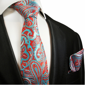 Red and Turquoise Paisley Silk Tie Set by Paul Malone