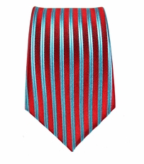 Red and Turquoise Slim Silk Tie by Paul Malone