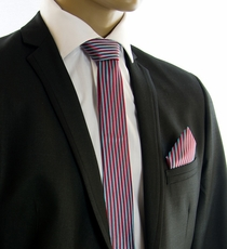 Red and Turquoise SLIM Tie Set by Paul Malone (Slim903H)