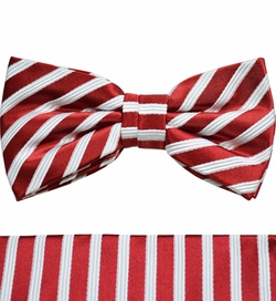 Red and White Bow Tie and Pocket Square Set by Paul Malone . 100% Silk (BT852H)