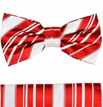 Red and White Silk Bow Tie Set by Paul Malone