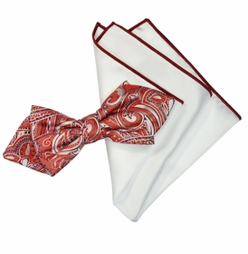 Red and White Silk Bow Tie Set with Rolled Bordered Pocket Square