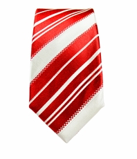 Red and White Slim Silk Tie by Paul Malone
