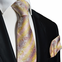Red and Yellow Silk Tie and Pocket Square . Paul Malone