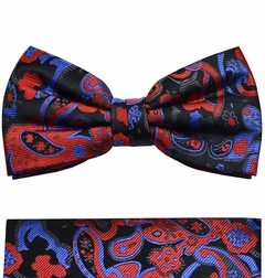 Red, Black and Blue Bow Tie and Pocket Square Set by Paul Malone . 100% Silk (BT885H)