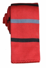 Red, Black and Grey Striped Knit Tie by Paul Malone (KN661)