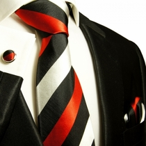 Red, Black and Silver Paul Malone Silk Tie Set (410CH)