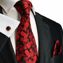 Red & Black Paisley Silk Necktie Set by Paul Malone (912CH)