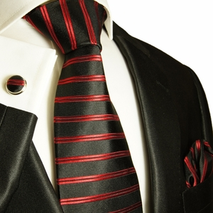 Red & Black Paul Malone Silk Tie Set (400CH)
