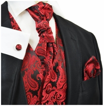 Red and Black Tuxedo Vest Set by Paul Malone (Q20-K)