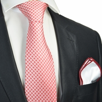 Red Checked Tie with Contrast Rolled Pocket Square Set