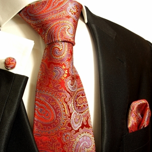 Red, Gold and Blue Paul Malone Silk Tie Set (696CH)
