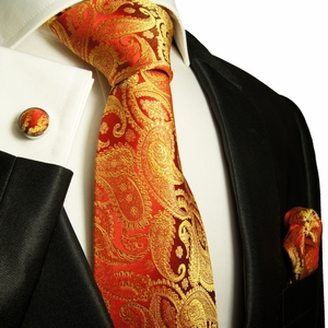 Red & Gold Paisley Paul Malone Silk Tie Set