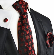 Red on Black Paisley Silk Tie Set by Paul Malone