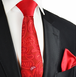 Red Paisley Contrast Knot Tie Set by Paul Malone