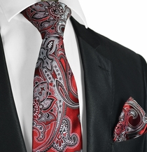 Pompeian Red and Black Paisley Men's Tie Set